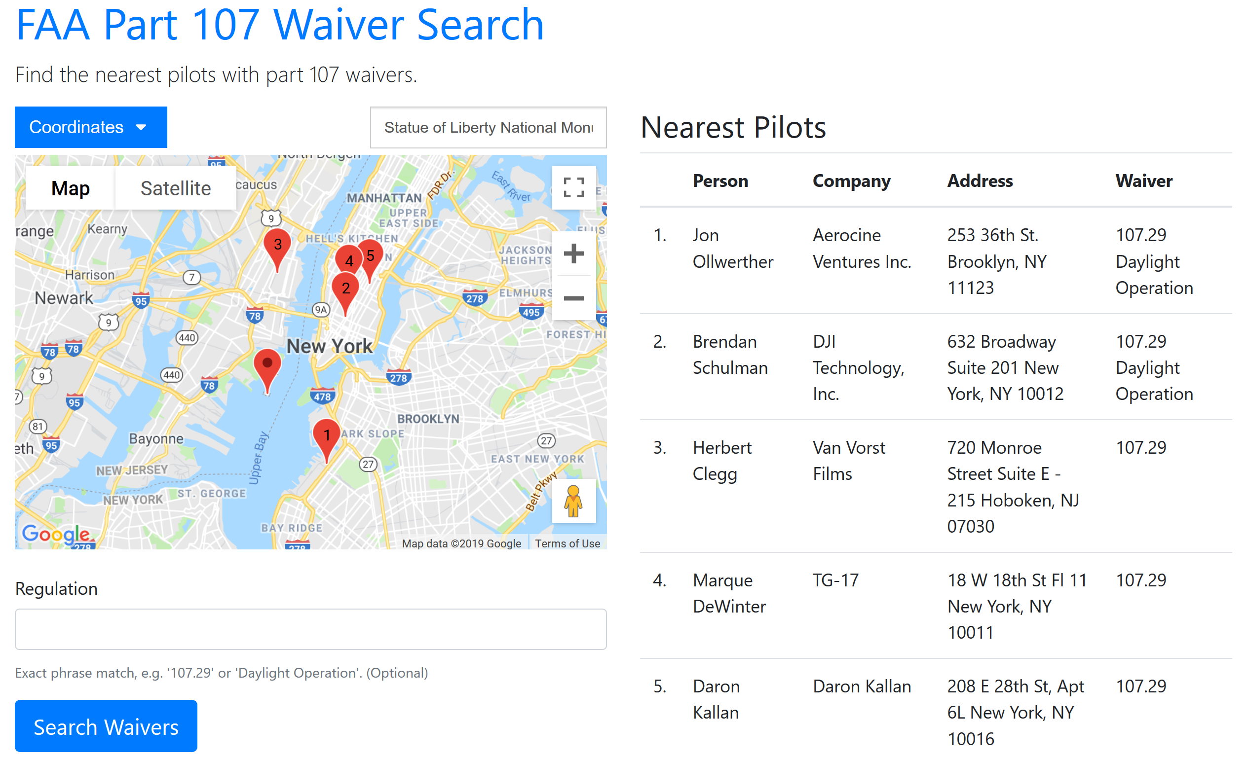 waiver search screenshot
